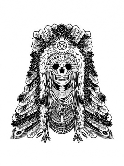 headdress.jpg (image) #skull #blackwhite #illustration