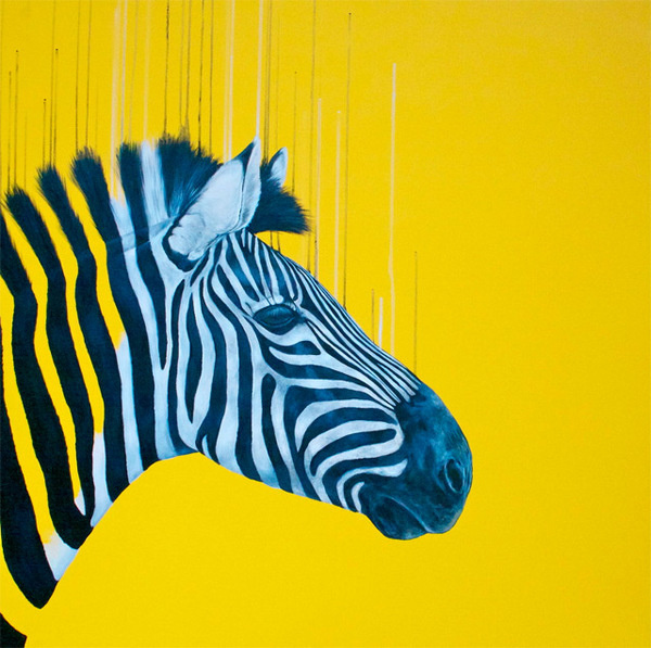 Fluorescent Mixed Media Animals by Louise McNaught #fluorescent #yellow #zebra #color