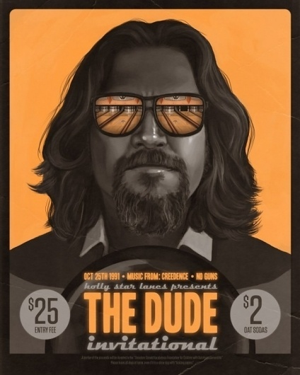 The Dude Invitational by Mike Mitchell | Poster Shizzle... #yellow #retro #dude #black #monochrome #pos #vintage #poster