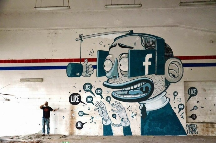 The Facebook Like Obsession Told Through Murals #facebook #likes #wall #art #street #murals