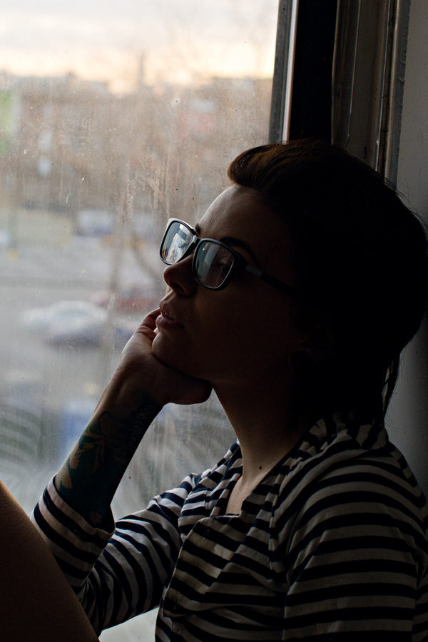 Becky #glasses #girl #tattoo #photography #window #sunset