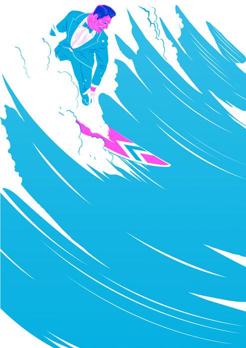 GtheGentleman #illustration #suit #surf #wave