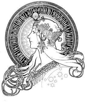 profilewithstars.jpg (JPEG Image, 288x336 pixels) #profile #line #nouveau #illustration #art