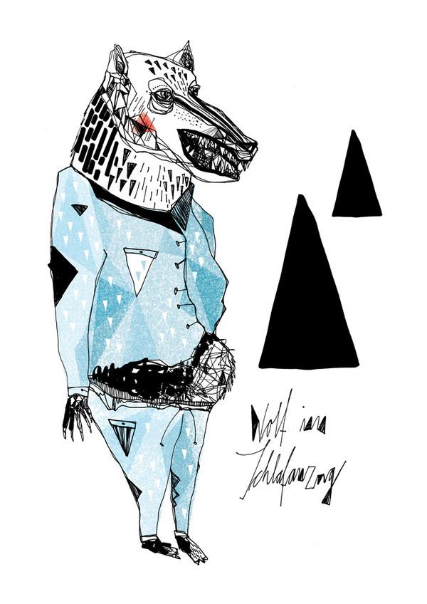 Wolf im Schlafanzug #fischer #pyjamas #illustration #maria #wolf