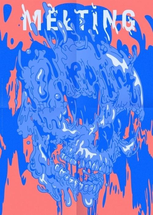 Designersgotoheaven.com Melting skull by VALISTIKA STUDIO. #illustration #melting #skull