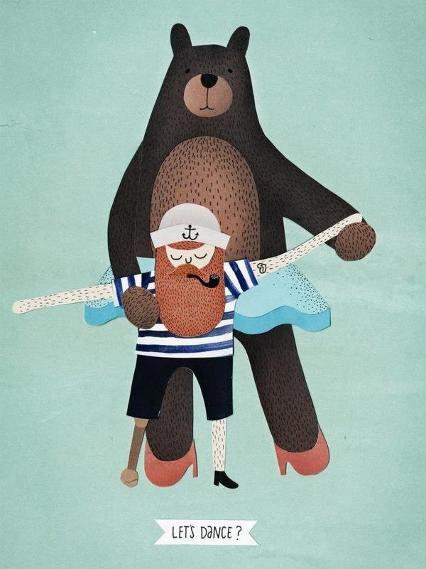 Michelle Carlslund Illustration: Let's Dance #lets #handlettering #smoke #nordic #sailor #beard #dance #danish #leg #wood #illustration #cute #scandinavian #pipe #poster #music #bear #anchor #dress