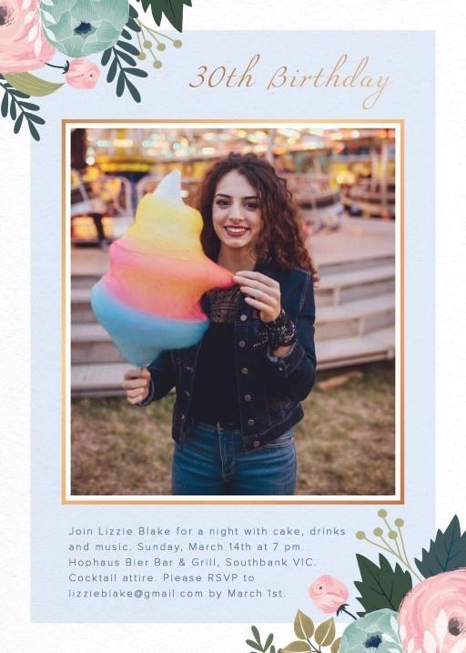 Floral Frame - Birthday Invitations #birthday #invitation #birthdayinvitation #paper #cards #digitalcard #design #floralframe #print #foils