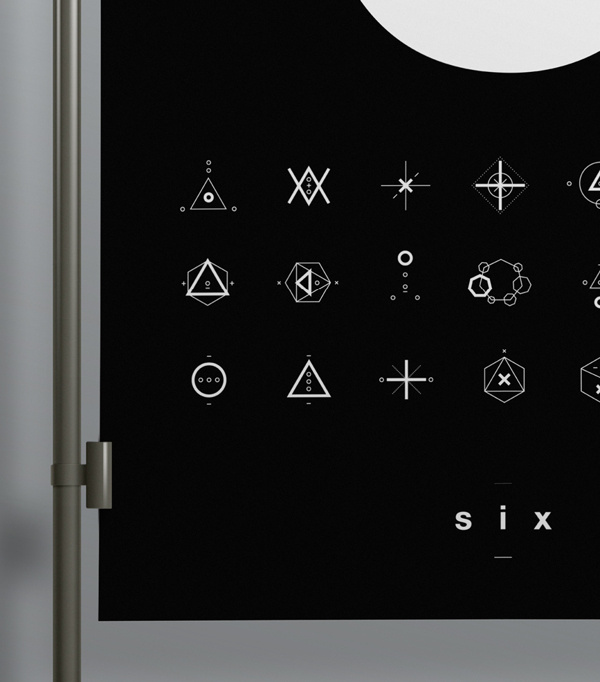 SIX // Symbols & Shapes on Behance #swiss #design #shapes #geometric #clean #symbols #number #poster