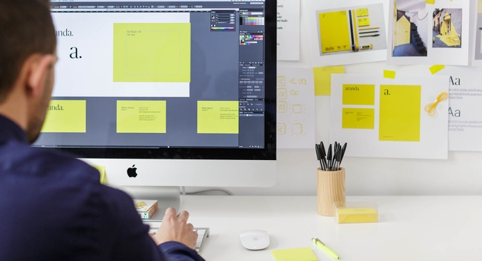 Graphic design studio from barcelona #design #studio #barcelona #yellow #stationary #workplace