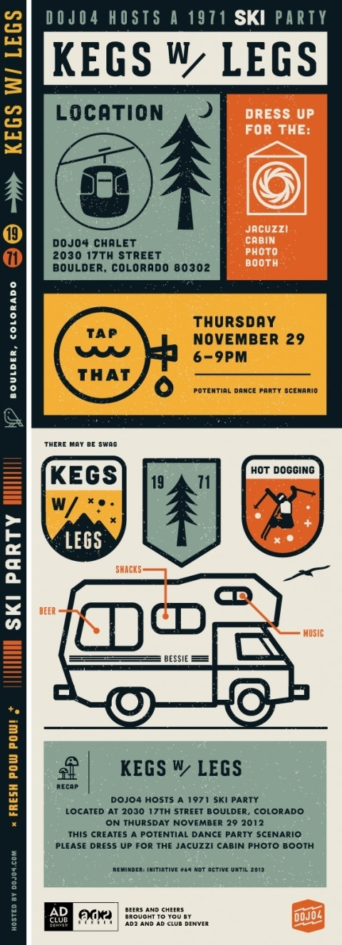 Kegs with legs #invite #vector #lines #thick #print #illustration #party
