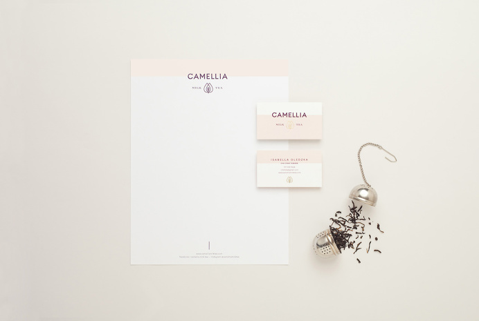 """Brand Identity for Camellia Milk Tea by Menta. """"Camellia Milk Tea is a new tea enthusiast start up that offers milk teas made with pure in"""