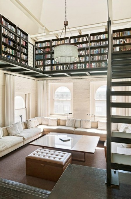dyingofcute:Tribeca, New York Duplex with plenty of book space #living #library #room