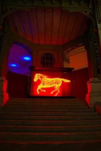 Light Sculptures by Makoto Tojiki | Colossal #horse #light #led #glow