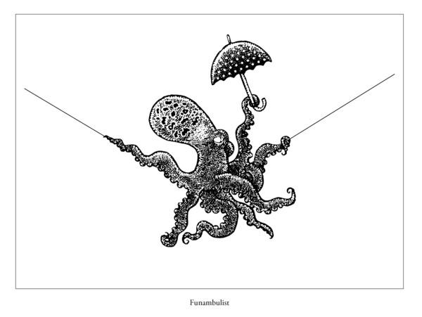 Funambulist letterpress print. #letterpress #Kickstarter #octopus #funambulist #tightrope #tentacle #umbrella