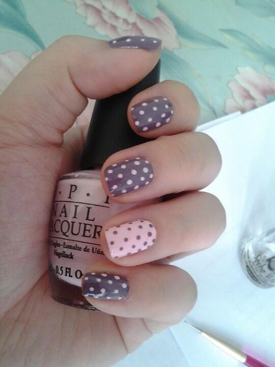 Best Nail Designs Pink Gray Polka images on Designspiration