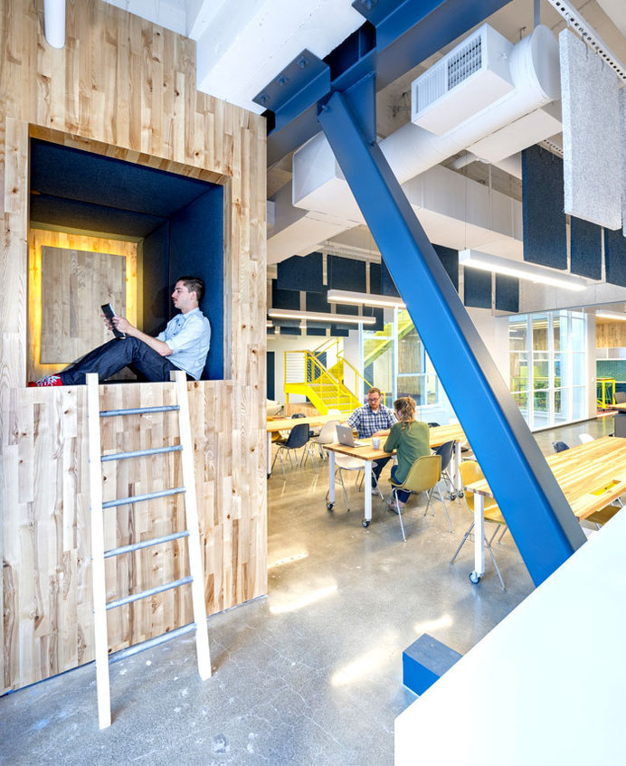 Vivid Office Space by Studio O+A  elevated sleeping nook