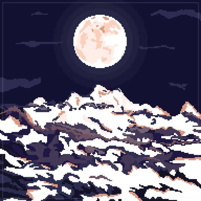 To conquering. . . . . . . . #pixelart #pixels #pixelartist #pixel_earth #pixelated #digitalart #artistsofinstagram #graphicdesign #graphicartist #moon #mountains #moonlight #moonlit #summit #8bitart #8bit #16bit #illustration #artwork #aesthetic #natureart