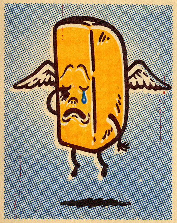 Gary Taxali Ode to the Twinkie #twinkie #heavenly #junk #print #illustration #angel #vintage #wings #death