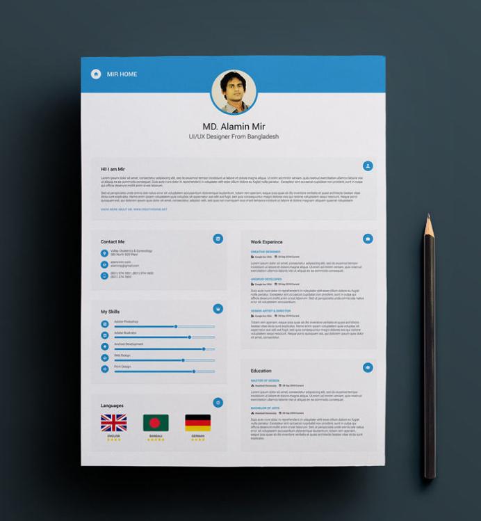 Minimal Resume Template Business Card