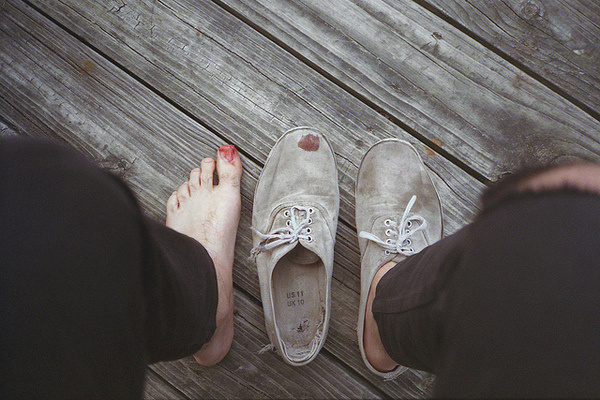 Randy P. Martin Photography. #blood #foot #self #wood #photography #sneakers #portrait #grey