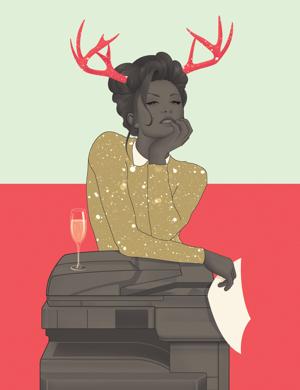 Sex in the Cities - Jack Hughes #antlers #woman #business #nostalgic #classy #copies #illustration #colors #holiday #vintage #jack #hughes #xerox