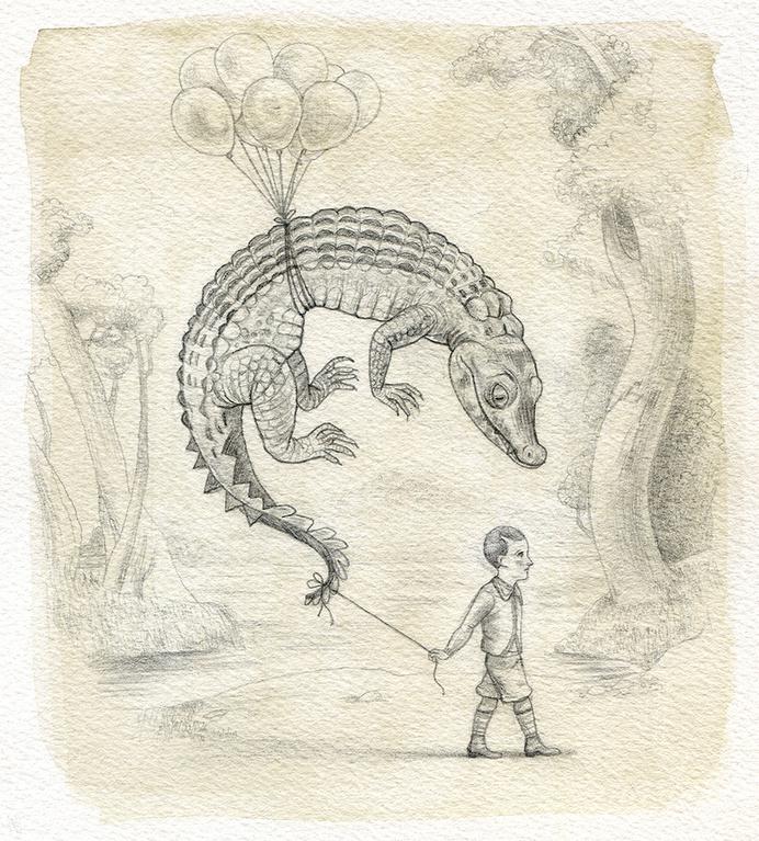 Image of Live Dangerous #crocodile #kid #child #float #balloon #illustration #reptile #danger #sketch #watercolour
