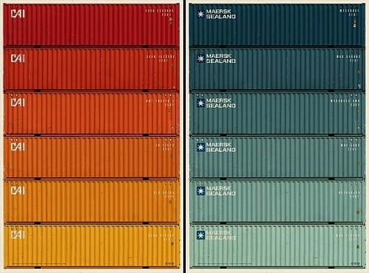 Maersk Sealand Shipping Containers #packaging #color