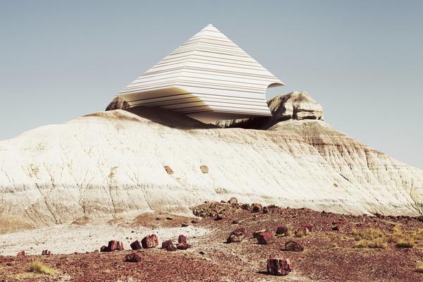 Ben Sandler #geometry #red #contrast #pyramid #desert