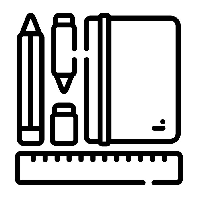 See more icon inspiration related to book, pen, rule, pencil, ruler, pencilcase, art and design, holder, office material, school material, education and stationery on Flaticon.