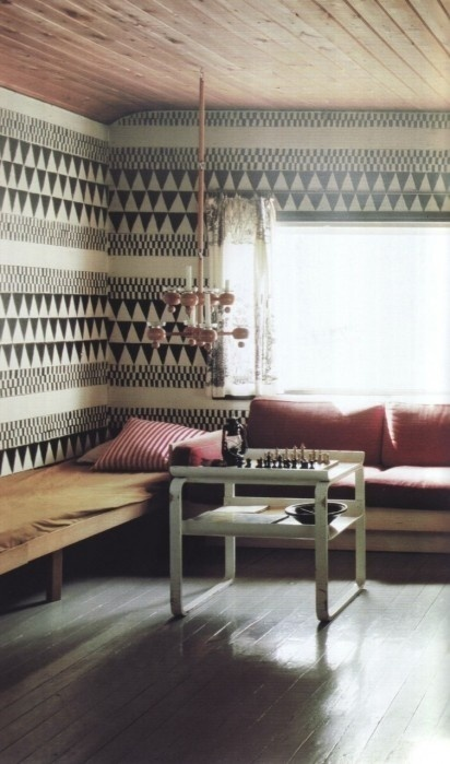 seating, wallpaper #interior #walpaper #wood #pillows #seating