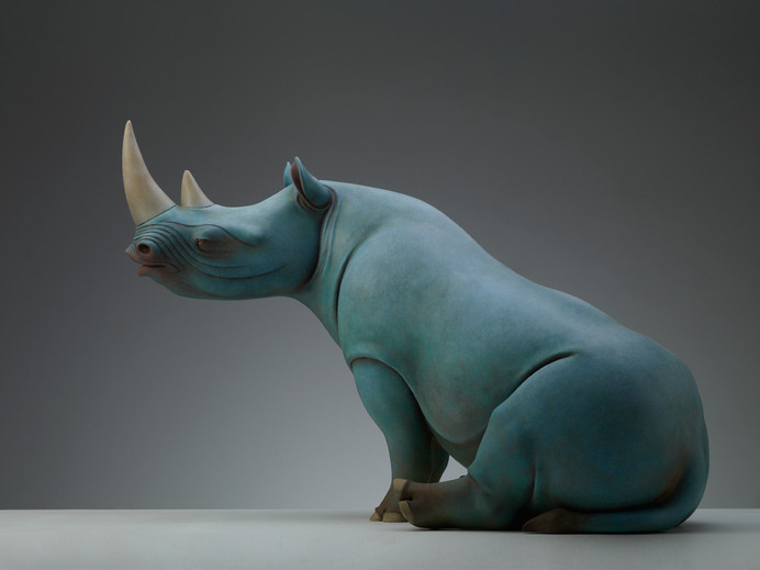 Surreal Animal Sculptures Carrying Monumental Elements of Nature by Wang Ruilin sculpture copper animals #sculpture #rhino
