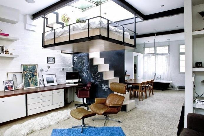 Suspended Bed in Small Urban Apartment #interior #design #architecture #bedroom