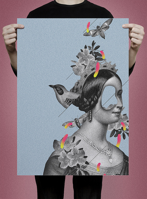 poster #princess #bird #fly #vintage #poster #collage