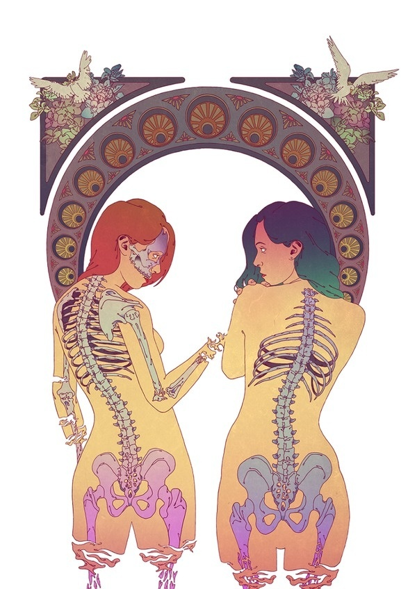 forbidden_love by JAIRO SOUZA @Jaaaiiro #illustration #retro #naked #skeleton #girls
