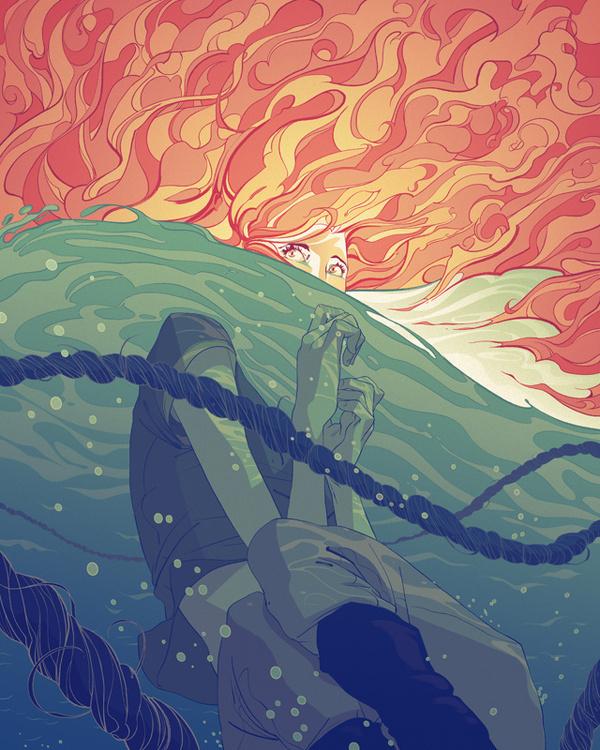 TheStranger by Goni Montes #ocean #fantasy #stranger #woman #water #supernatural #rope #illustration #sea #art