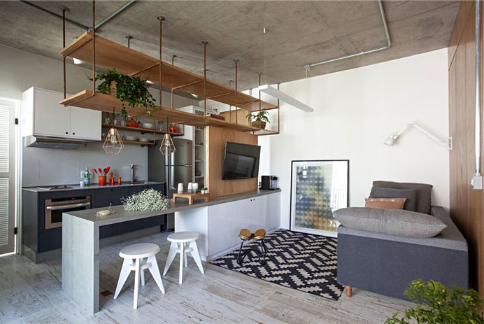 Studio Apartment Divided up with Wooden Screens - InteriorZine