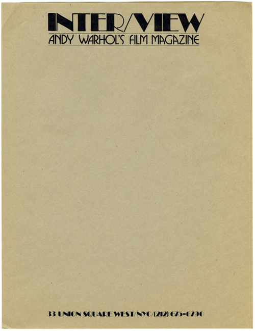 Interview, c. 1971 | Steven Heller Collection, via Container List #stationary #letterhead #warhol #broadway