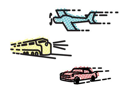 Planes, Trains, & Automobiles #train #chris #baker #icon #illustration #plain #car #transportation