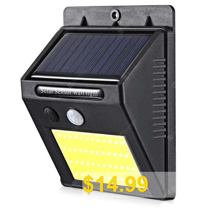 CX1701 #- #48COB #48 #LEDs #Motion #Sensor #Solar #Wall #Light #- #BLACK
