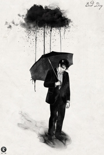 Bad Day by ~Amarelle07 #watercolors #clouds #black #rain #amarelle07 #day #sadness #sad #depression #bad