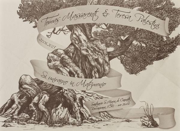 A brand for Tomas and Teresa's wedding. on Behance #tree #invitation #favini #illustration #wedding #crush