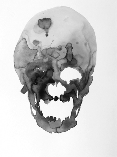 DISINTEGRATION. #skull #minimal #watercolour