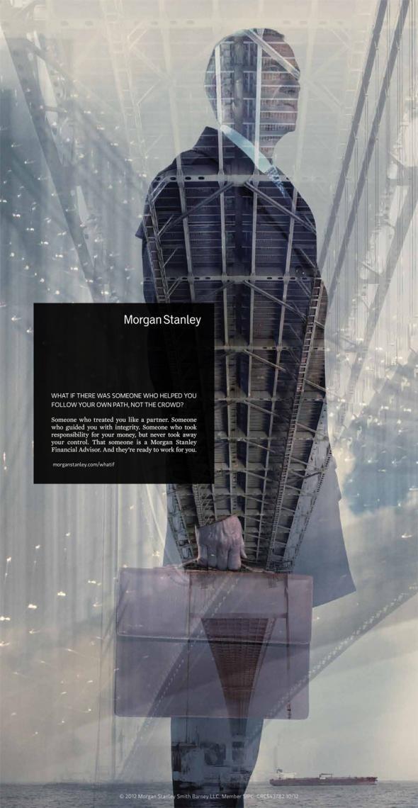 Morgan Stanley: Briefcase #exposure #advertising #double #ad #man #bridge