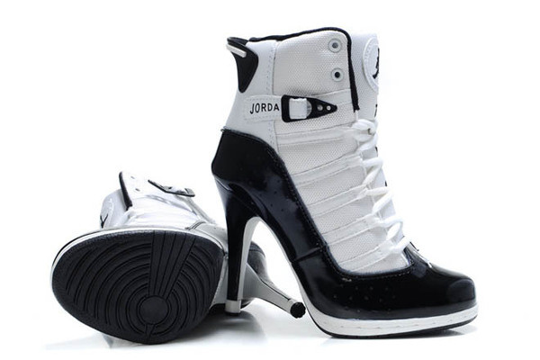 6ebfdc2b249e Nike Air Jordan XI 11 Womens High Heels Shoes with Black White Colorways   heels