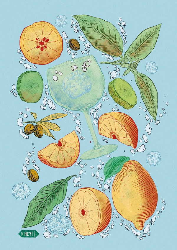 Gin tonic - Print by Heymikel #lemons #print #mint #illustration #gin #summer #heymikel