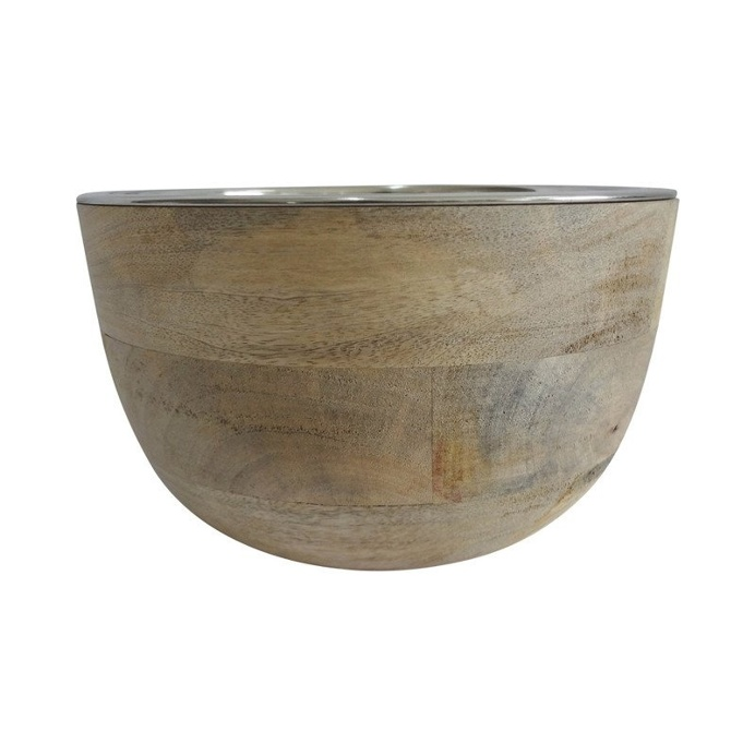 Timber Bowl with Stainless Steel Insert 22cm