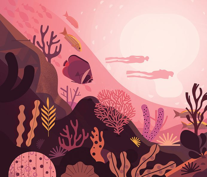 Indian Ocean - another AIDA cruise piece #fish #coral #underwater #scene #travel #traveller #cruise #illustration #artwork