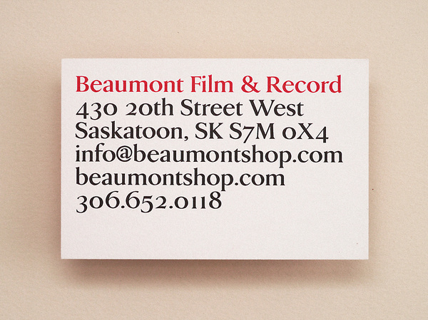Beaumont Film & Record | Vitae Design #business #card #print #design #graphic #type