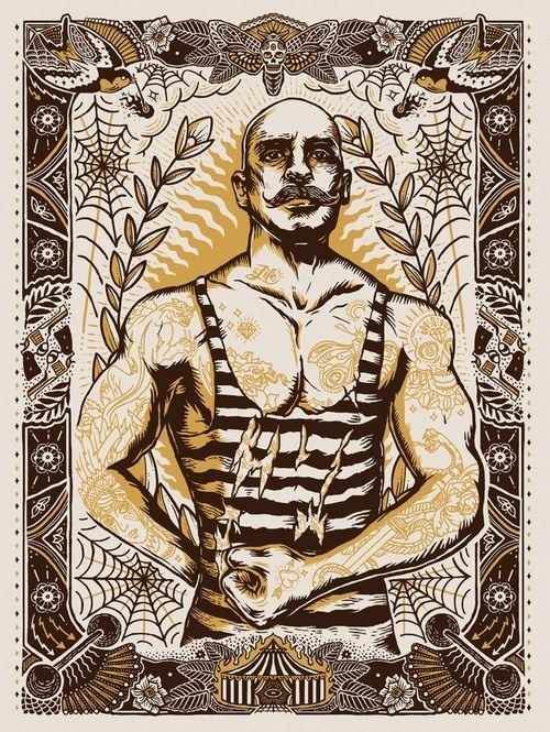 Collaborative piece created with MegamundenScreenprinthttp://www.megamunden.com/ #illustration #tattoo