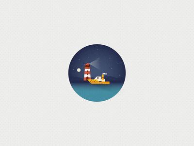 Midnight Trip (Icon 8) #ocean #sun #pattern #iconset #icon #illustrator #lighthouse #texture #shape #sunrise #boat